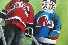Hockey Boys, acrylic on canvas, sold