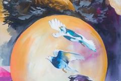 "Sapphire Tsunami, acrylic on canvas, 18x24"", $450"