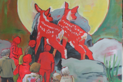 "Red Fawns, acrylic on canvas, 30x36"", $800"