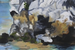 "Halong Bay Fishermen, acrylic on canvas, 24x48"", $700"