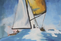 "Yellow Sail, acrylic on canvas, 12x18"", $105"