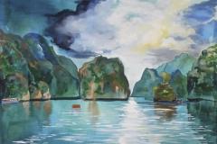 "Halong Bay , acrylic on canvas, 36x48"", $900"