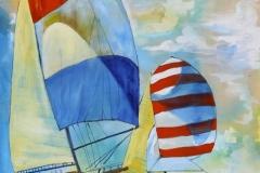 "Striped Sail, acrylic on canvas, 36x36"", $600"